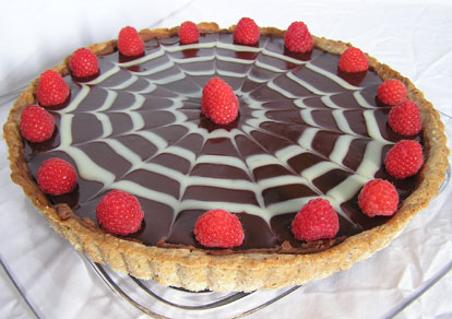 chocolate ganache tart with raspberries